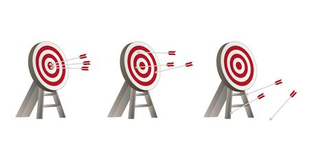 failed strategy: three different targets with arrows and wooden holder