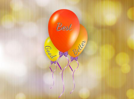 better: good better and best color balloons on yellow background