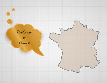 welcome to france speak bubble on graph paper Vector