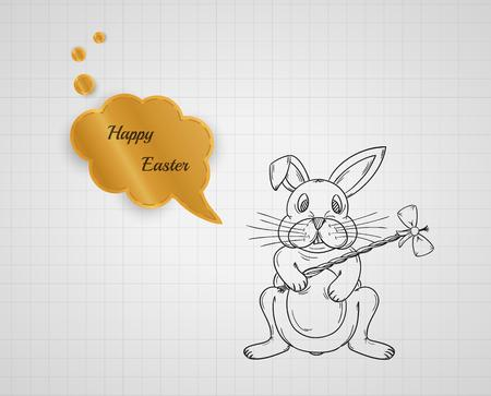 happy easter with bunny on graph paper with speak bubble, sketch Vector