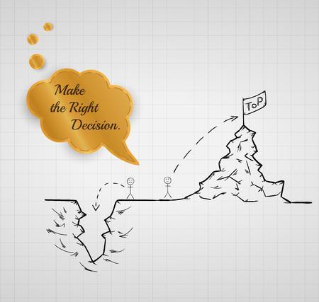 maak de juiste beslissing voor tot in de afgrond of stijgen naar de top Stock Illustratie