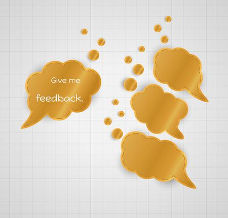 contentedness: give me feedback speech bubble with empty bubbles as a symbol of answer or given feedback