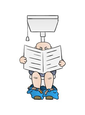 man reading newspaper on toilet, cartoon, isolated Vector