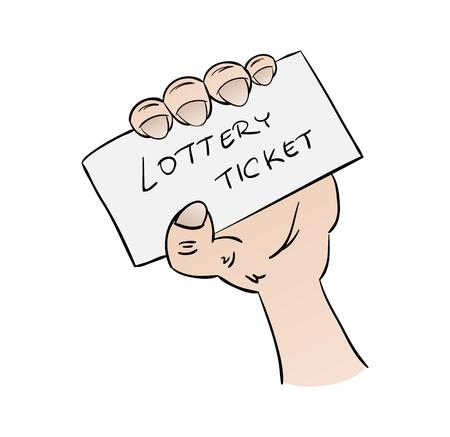 millions: lottery ticket in hand on white background, cartoon, isolated