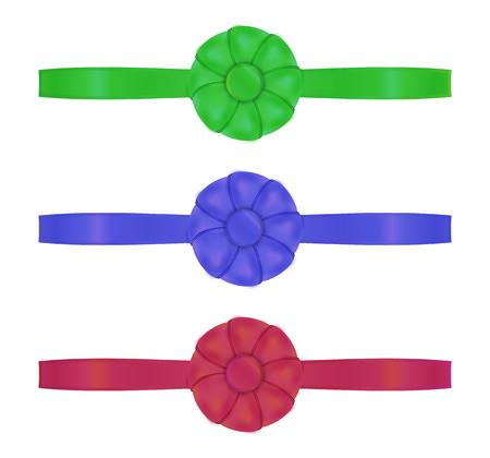 collection of the three ribbons with different color - red, blue, green Vector