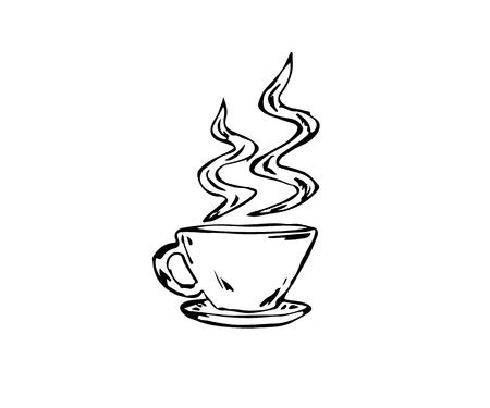 vectorized: vectorized sketch cup of coffee on white background, isolated Illustration