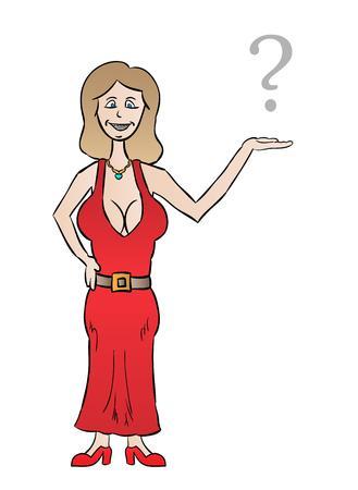 tetas: bonita mujer vestida con grandes tetas y signo de interrogaci�n, de dibujos animados, aislado Vectores