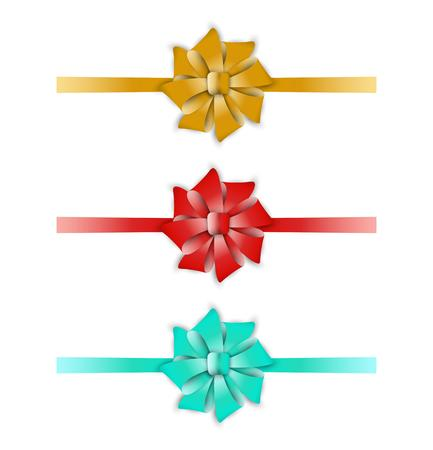 collection of the three ribbons with different color - yellow, red, blue Vector
