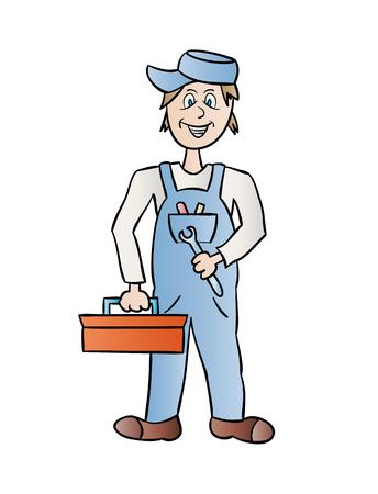 plummer: plumber with tools on white background, cartoon, isolated Illustration