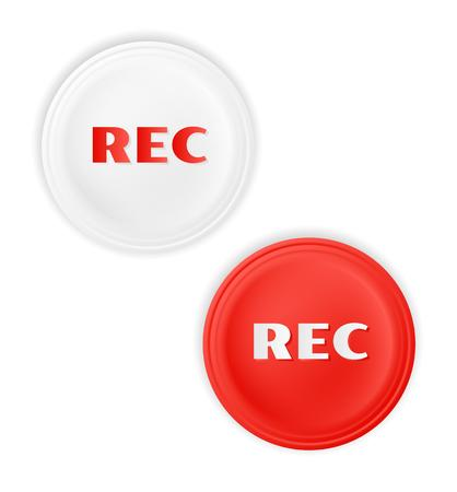 rec: two rec buttons on white background Stock Photo