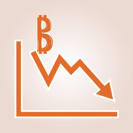 decline in values: decreasing graph with bitcoin symbol on red gradient background