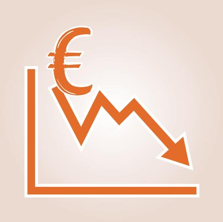 decline in values: decreasing graph with euro symbol on red gradient background Stock Photo