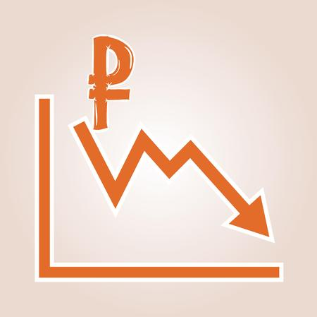 decline in values: decreasing graph with ruble symbol on red gradient background