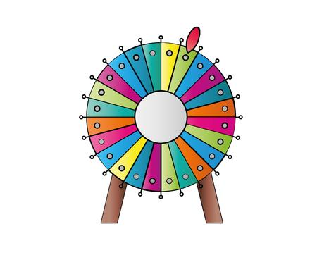 luck wheel: colorful wheel of fortune on white background