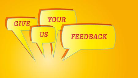 contentedness: gradient background with give me feedback speech bubbles Stock Photo