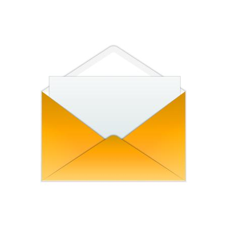 open envelope: gold open envelope and paper on white background Stock Photo