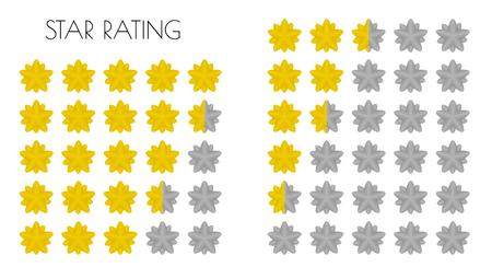 ratings: five different gold rating stars on white background