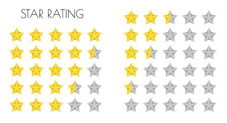 five different gold rating stars on white background