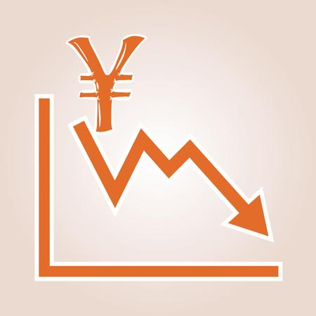 decline in values: decreasing graph with yen symbol on red gradient background