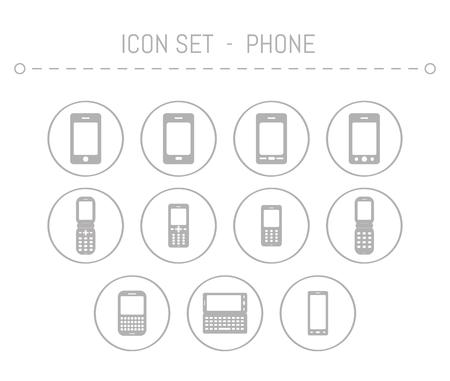mobil: old classic mobil phones and smart phone icons Stock Photo