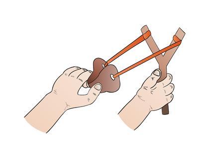 catapult: hands and slingshot illustration on white background