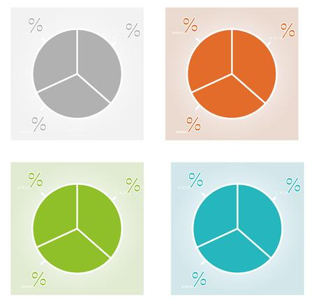 Four Color Pie Charts On Different Background Royalty Free Cliparts