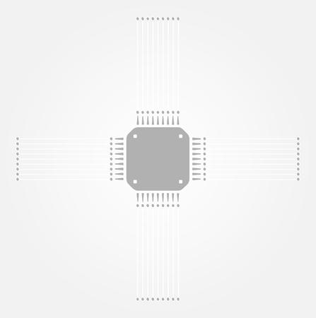 microelectronics: gray microchip on the gray gradient background