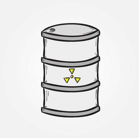 hazardous waste: one barrel with dangerous fluid on gray background Illustration