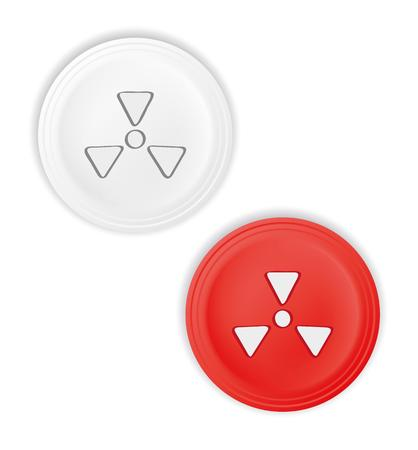 radioactive: red and white buttons with radioactive symbol