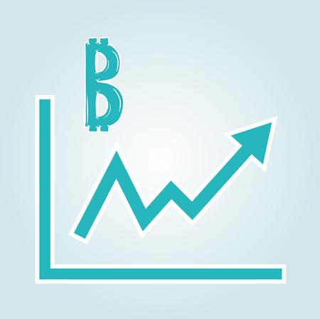 increasing: increasing graph with bitcoin symbol on blue gradient background Illustration