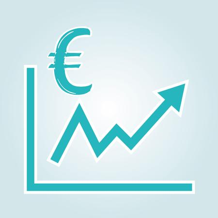 increasing graph with euro symbol on blue gradient background Vector