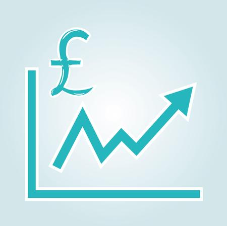 increasing graph with pound symbol on blue gradient background Vector