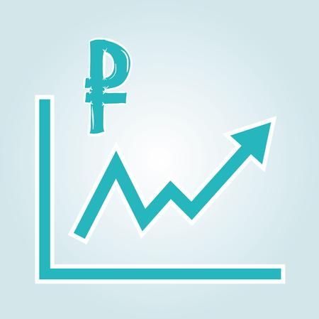 increasing graph with ruble symbol on blue gradient background Vector