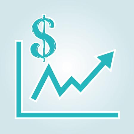 increasing graph with dollar symbol on blue gradient background Vector