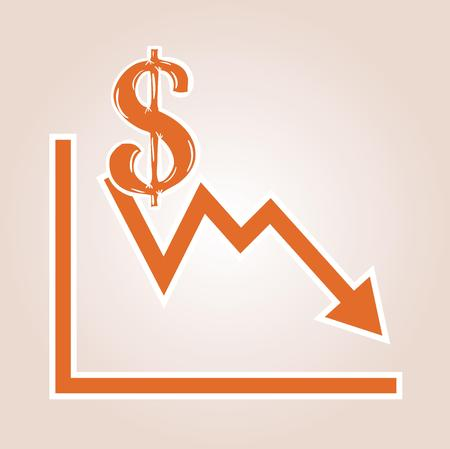 decline in values: decreasing graph with dollar symbol on red gradient background Illustration