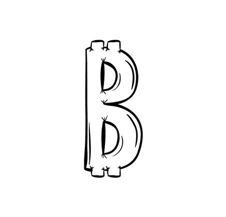 sketch of the bitcoin symbol on white background Vector