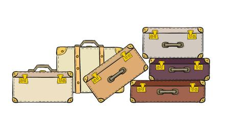 esbozo de las maletas en el fondo blanco, aislado