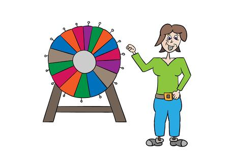 wheel of fortune: colorful wheel of fortune and woman on white background, vector, isolated