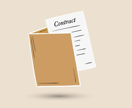 sketch of the folder with contract paper Vector