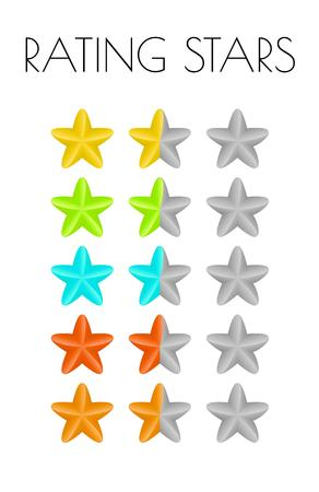 five different colors of the rating stars