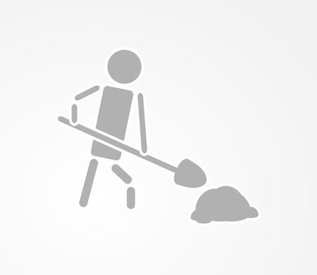 vector sign under construction: working man with a shovel, under construction