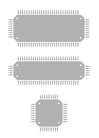 three different gray microchips on white background Vector