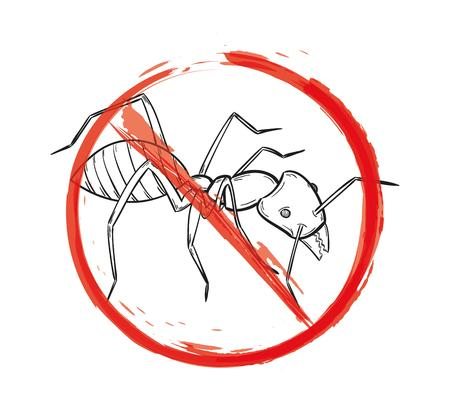 arthropoda: danger sign with sketch of the ant on white background, isolated Illustration