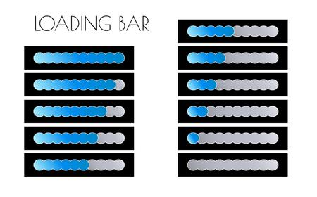 loading bars with blue circles on the black background Vector
