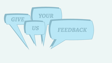 contentedness: gradient background with give me feedback speech bubbles Illustration