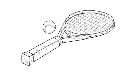 tennis racquet: bosquejo de la raqueta de tenis y pelota, aislado
