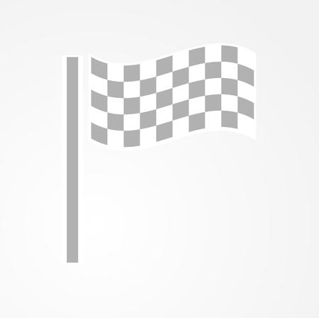 racing checkered flag crossed: waving checkered racing flag on gray gradient background Illustration