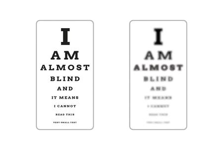 snellen: sharp and unsharp snellen chart (almost blind) as a symbol of different sight damage Illustration