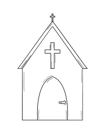 sketch of the church on white background, isolated