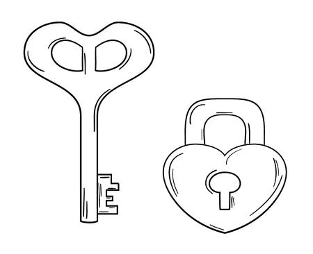 door lock love: key and lock with heart shape on shite background, isolated Illustration